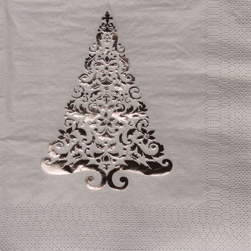 16-Count Glitz Foil Stamped Paper Lunch Napkins, Silver