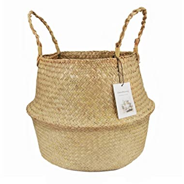 Natural Seagrass Belly Basket with Handles Seagrass Planter for Fig Indoor Plants