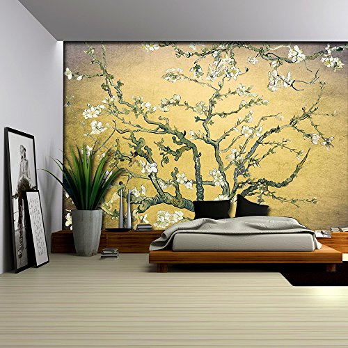 Orange with Lavender Vignette Almond Blossom by Vincent Van Gogh Wall Mural