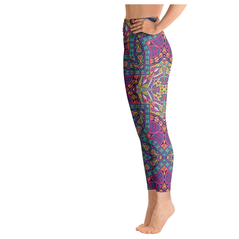 klkljn Womens Yoga Pants high Waisted Leggins Mandala Pattern Abstract Colorful Outfits Capris