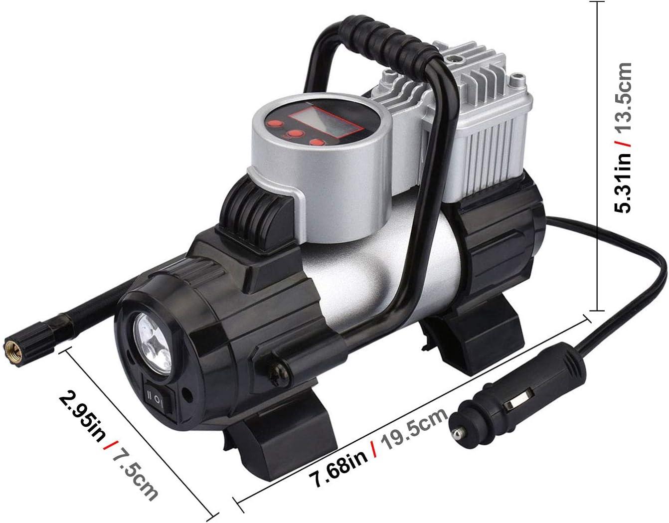 Kzkr Minikompressor Auto Tragbare Luftkompressorpumpe 12v Voreingestellt Digitale Reifenfüller Eingebauter Lcd Bildschirm Überhitzungsschutz Für Auto Fahrrad Und Andere Inflatables Auto