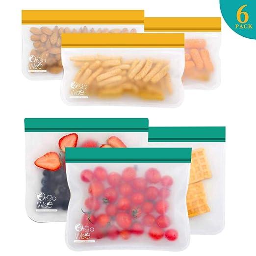 Reutilizables y Biodegradables Meowoo Bolsa de Conservaci/ón de Alimentos de Silicona 6pcs Conservaci/ón Fruta Vegetales y S/ándwich Peva Material
