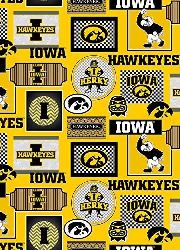 Iowa Hawkeyes Fabric (IOWA HAWKEYES COTTON PATCHES FABRIC ALL OVER PATTERN-UNIVERSITY OF IOWA COTTON PRINTED FABRIC-NEWEST DESIGN-SOLD BY THE YARD)