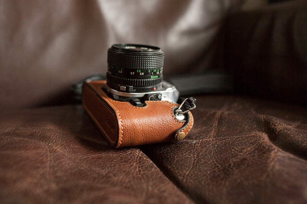 Handmade Genuine Real Leather Half Camera Case Bag Cover for Canon AE-1 Brown