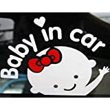 MOKRIL® 1-pack or 2-pack Baby on Board Baby in Car Safety Sign Exterior Waterproof Vinyl Car Decal Sticker, Ships from U.S ('baby waving', 1-pack)