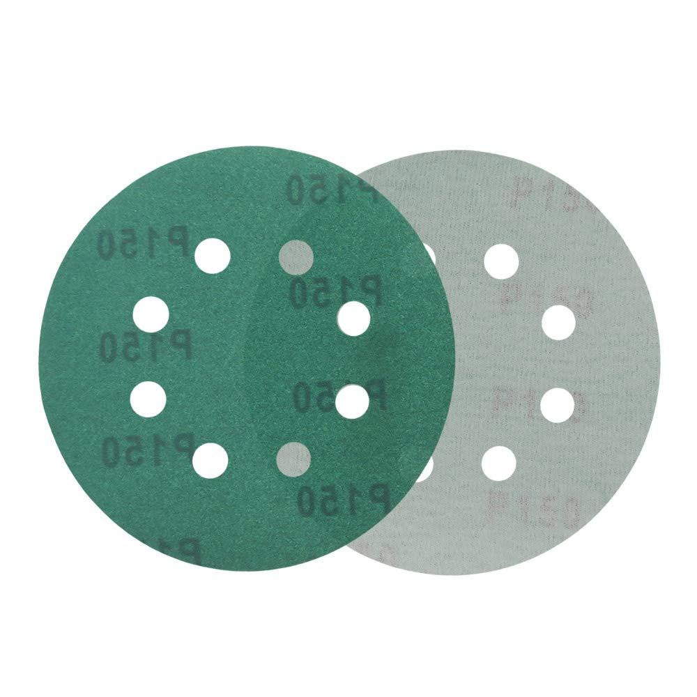Lyndee Grana :600# 5 inch 125mm confezione da 20 grana 60-2000 Dischi abrasivi in carta vetrata verde con 8 fori