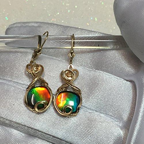 14k Ammolite Ring (AMMOLITE Earring Triplett - Crystal Top -14k Solid Yellow Gold)