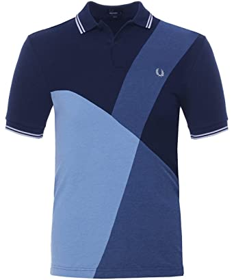 Fred Perry Colour Block Panel Polo Shirt Blue-M: Amazon.es: Ropa y ...