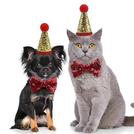 Idepet Gorros de Navidad para Perros y Gatos Sombreros De Lentejuelas Brillo Traje de Bowknot Pajarita
