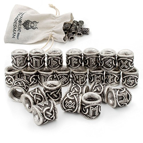 Man Of Steel Outfit (Viking Rune Beard Bead Set (24) - Norse Rings for Hair, Dreads &)