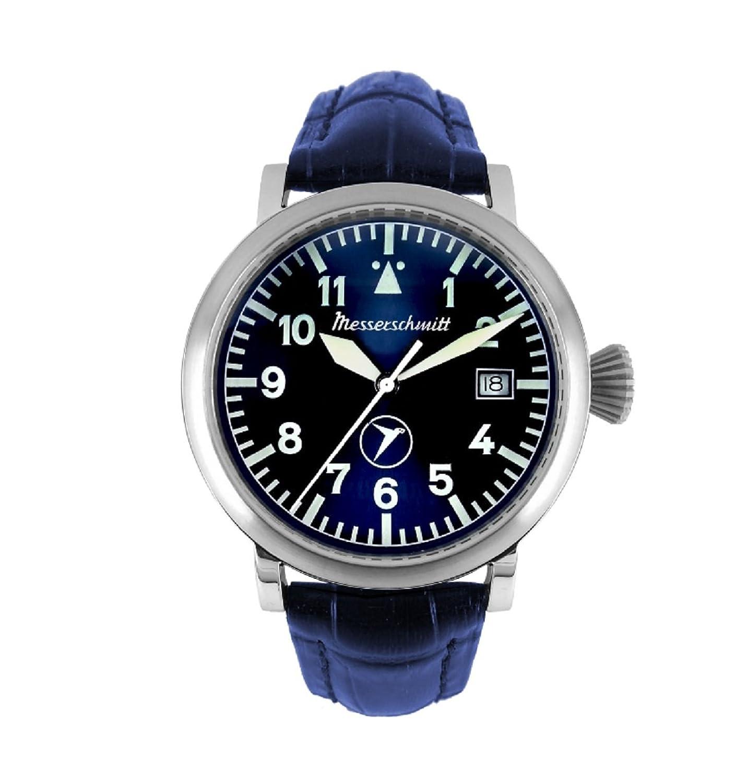 Messerschmitt Herren Fliegeruhr BF-108 blau Lederarmband Sammleruhr Uhr