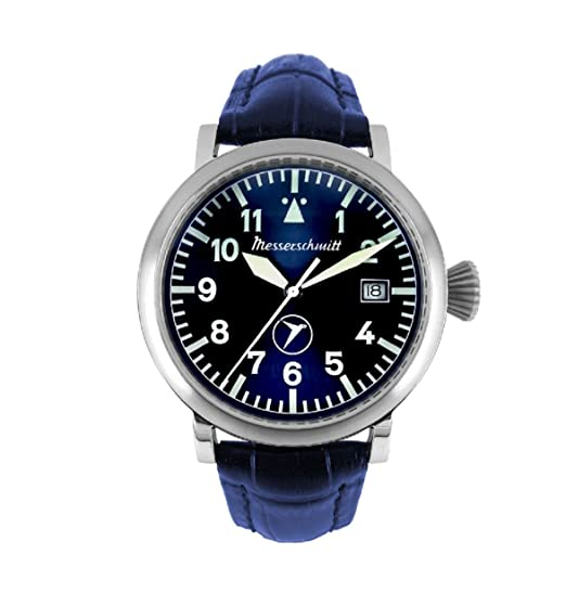 Messerschmitt Hombre Planeador Reloj BF de 108 Azul Pulsera de piel coleccionistas Reloj Reloj