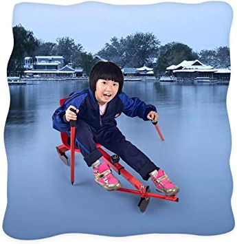 Double skis sled Snow Sledge wear-Resistant skis skis Thickened Childrens Sand Board Outdoor Sports ChenCheng Sled