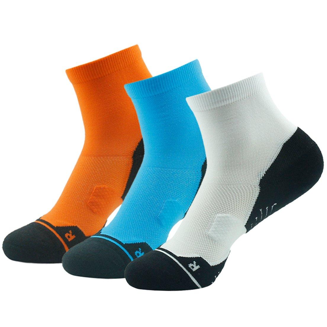 Z3 Pair bluee&orange&white Running Socks Support, HUSO Men Women High Performance Arch Compression Cushioned Quarter Socks 1,2,3,4,6 Pairs