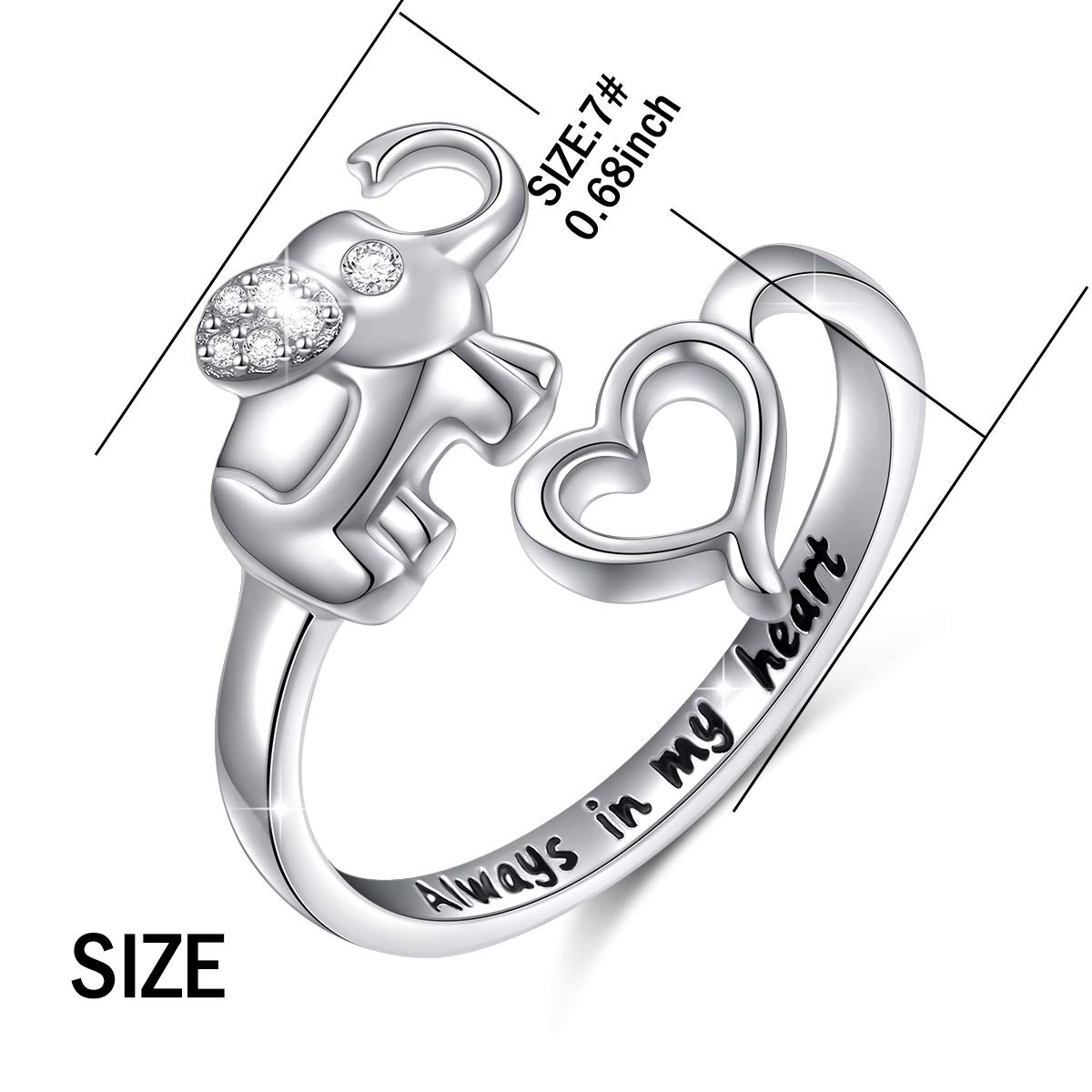 33b636e901d27 Amazon.com: Elephant Ring Sterling Silver Engraved Always in My ...