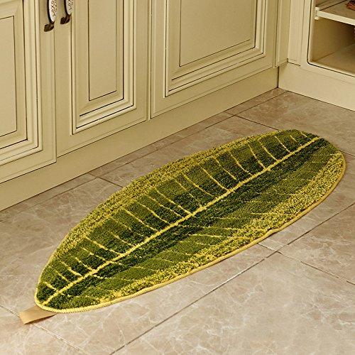 "Non-slip Leaf Shape Kitchen Rug 17.7""Wx47.2""L Microfiber Polyester Kitchen Mat"