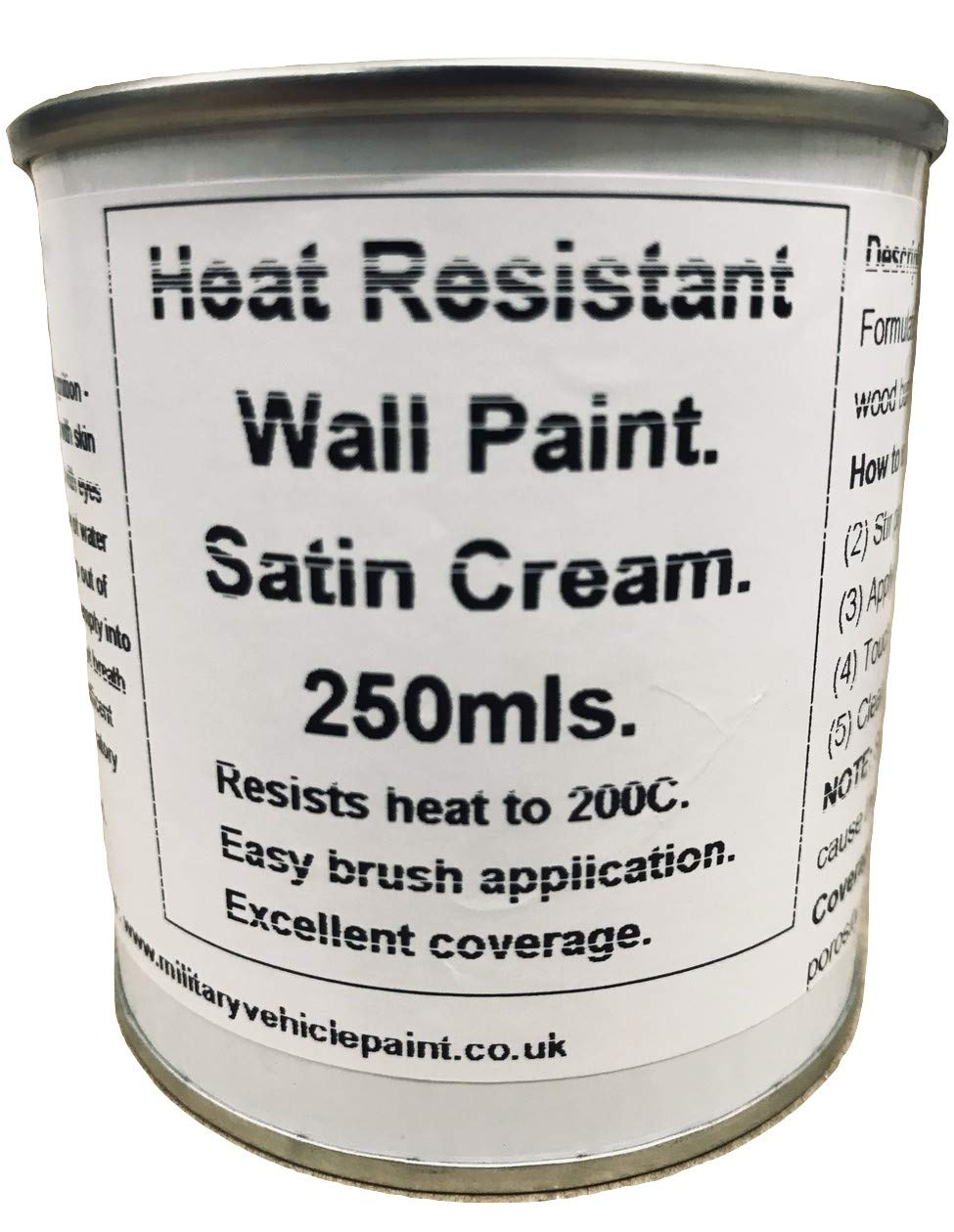 1 x 250ml Satin Cream Heat Resistant Wall Paint. Wood Burner Stove Alcove. Brick, concrete, plaster, cement board, rendering, metal, timber etc. Fascinating Finishes Ltd