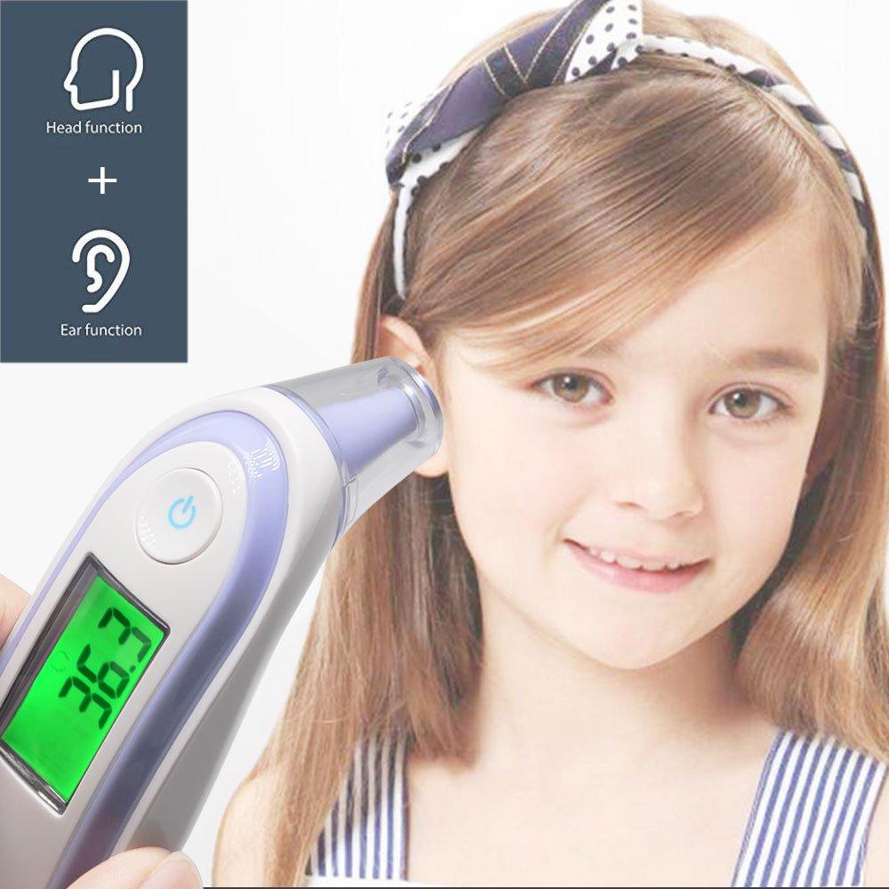 Mcoplus infrarrojos termómetro para la frente y el oído con pantalla LCD