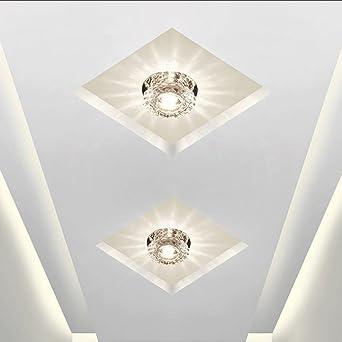 Plafón Redonda LED Cristal Lámpara de Techo 5W Luz de noche Decoración Iluminación aplique de pared Romántica Focos de Techo Instalación externa Balcón Corredor Escalera, Ø10cm, Luz blanca: Amazon.es: Iluminación