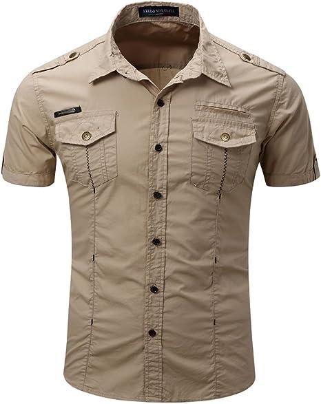 Mena UK Hombre Manga Corta Ocio Delgado Camisa Mono Pura S-XXXL (Color : Khaki, Tamaño : L): Amazon.es: Deportes y aire libre