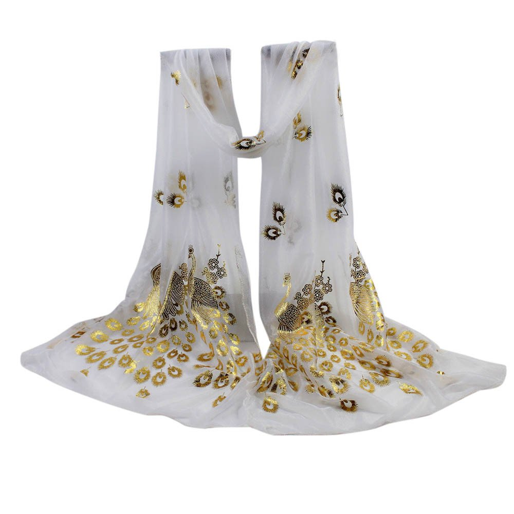 YOMXL Women Peacock Gilded Scarf Shawl Soft Wrap Stole Solid Color Long Scarf Lightweight Head Wrap Shawl Cape (White)