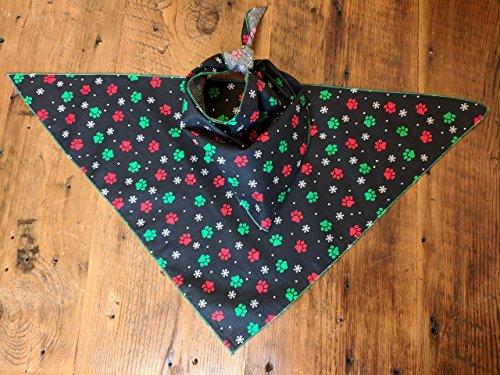 Snowflakes Bandana (Large Black Paw Snowflake Bandana (Chelsea Large Collection))