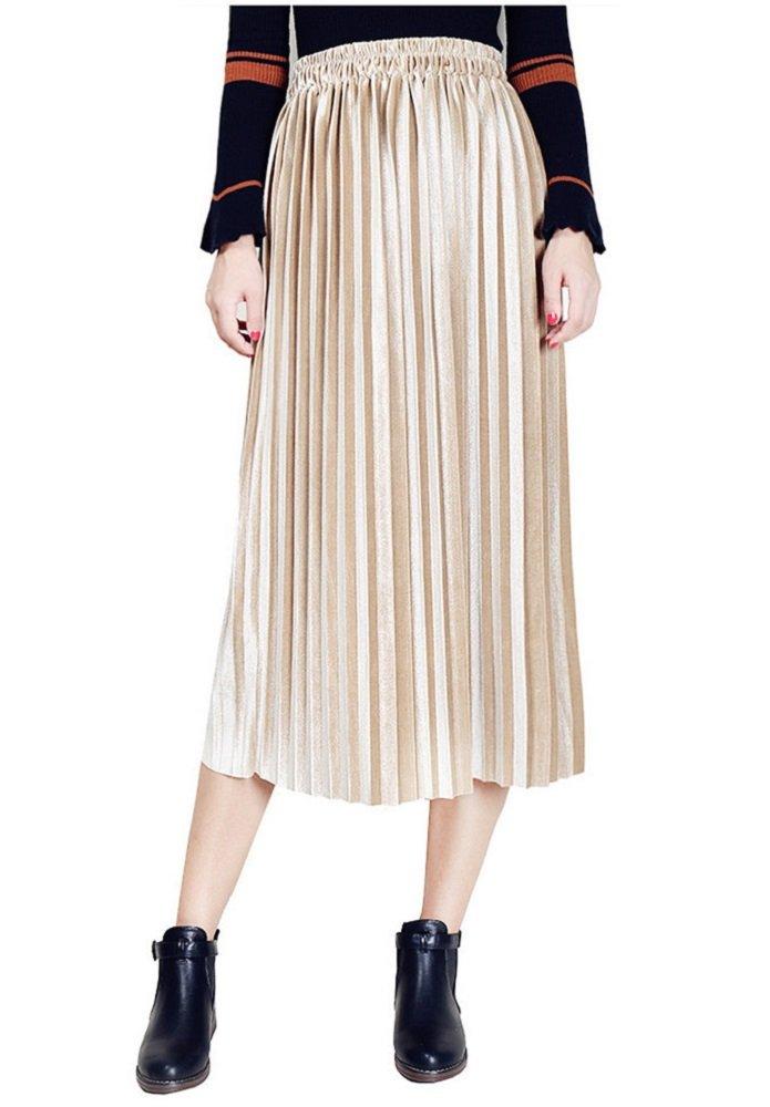 Moxeay Women High Waist Velvet Pleated A-Line Midi Skirt (M, Apricot)