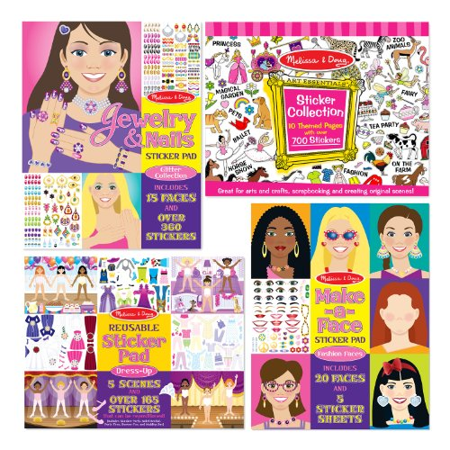 Melissa & Doug Sticker Pads Set: Jewelry and Nails, Dress-Up, Make-a-Face, Favorite Themes - 1225+ (Dress Up Themes)