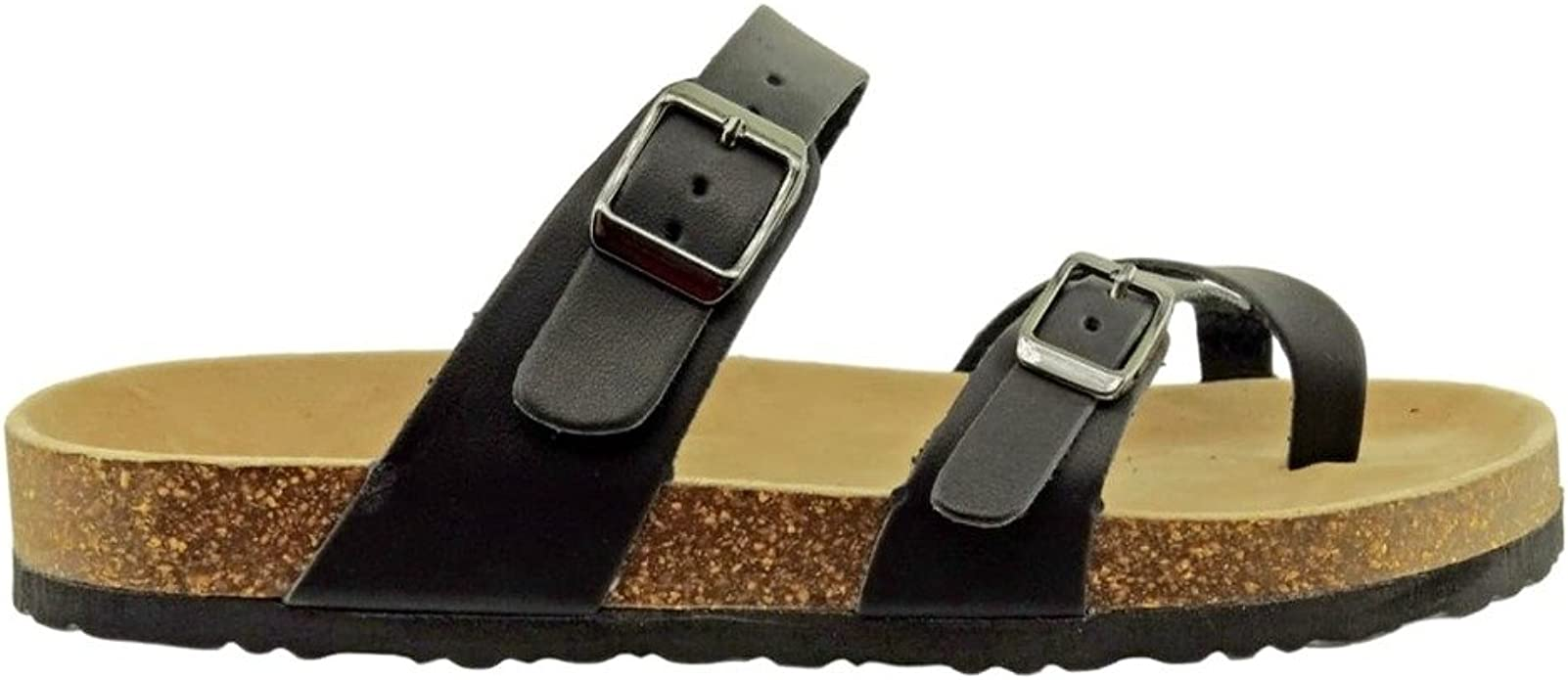 Outwoods Women/'s Black Synthetic Leather Double Buckle Toe Loop Sandal 21321-101