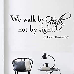 YOYOJOY We Walk by Faith Not by Sight 2 Corinthians 5:7 Wall Decals Quote Home Decor Art Quote Decals Wall Art Stickers Decal(Black)