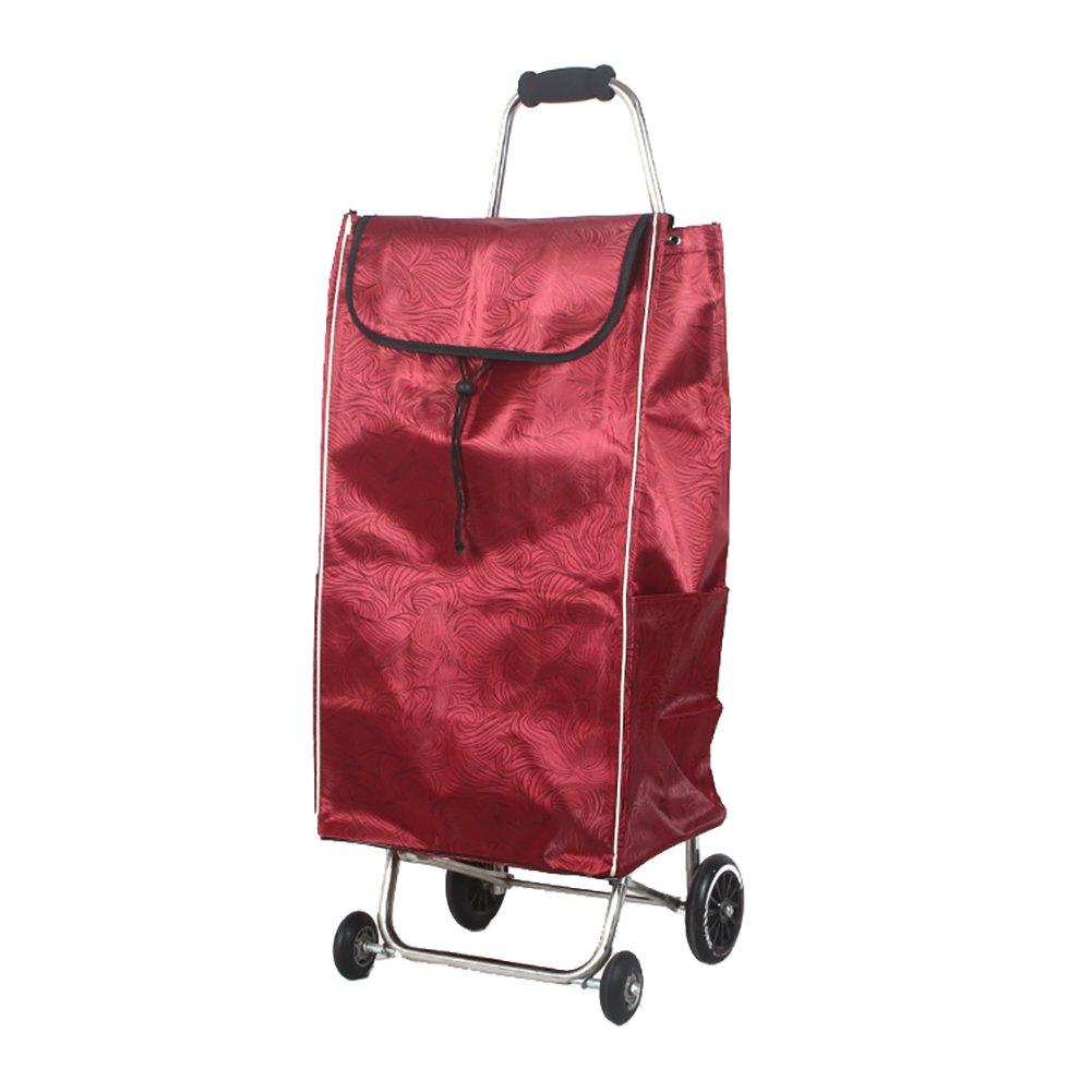 ZGL トラック トロリー家庭用ステンレススチール折りたたみカートポータブル4ホイールショッピングカート荷物用バッグカー (色 : 赤) B07D7XHTXY 赤 赤