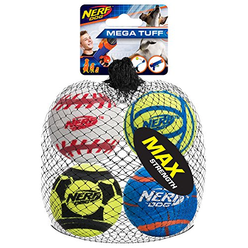 Nerf Dog 2.5in Standard Non-Squeak Sports Ball 4-Pack, Dog Toy ()