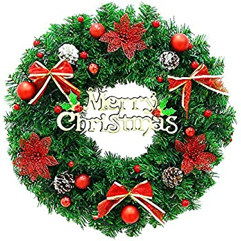 Christmas Wreath Large Front Door Wreath Wall Garland Decoration Christmas Party Decor (15.7 Red  sc 1 st  Amazon.com & Amazon.com: Christmas Wreath Large Front Door Wreath 24 Inch Wall ... pezcame.com