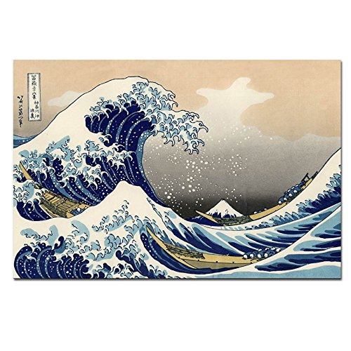 Wieco Art Canvas Prints Wall Art Ocean Beach Picture Paintings for Home Office Decorations Wall Decor Great Wave of Kanagawa Katsushika Hokusai Modern Stretched and Framed Landscape Sea Artwork