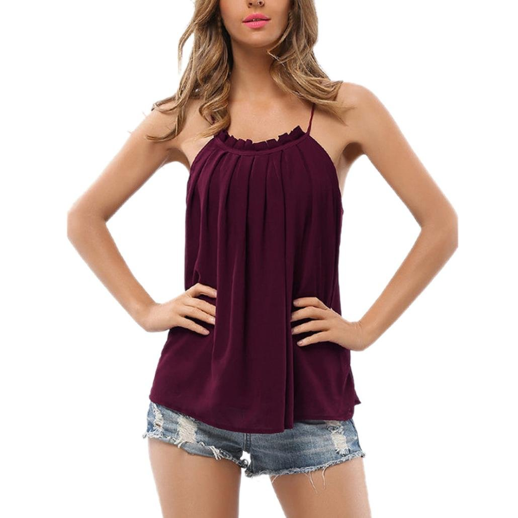 YANG-YI Clearance Women Strappy T-Shirt Sleeveless Chiffon Tops Blouse Vest