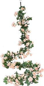 Luyue 2 Pack 69 Heads Artificial Rose Vine Flowers Garlands Decorations Floral Hanging Garden Craft Rose Ivy Plants for Wedding Arch Arrangement (Light Pink)