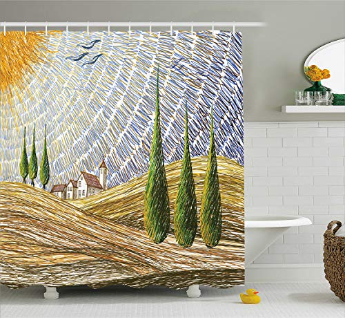 Van Gogh Italian - Ambesonne Tuscan Decor Shower Curtain, Van Gogh Style Italian Valley Rural Fields with European Scenery Digital Painting Art Print, Polyester Fabric Bathroom Set, 75 Inches Long, Yellow Green
