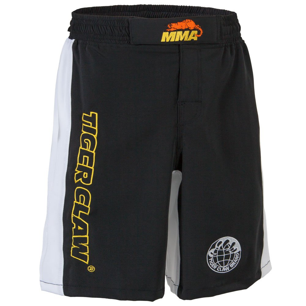 Tiger Claw Polyester Fight Shorts - Black with White Trim by Tiger Claw