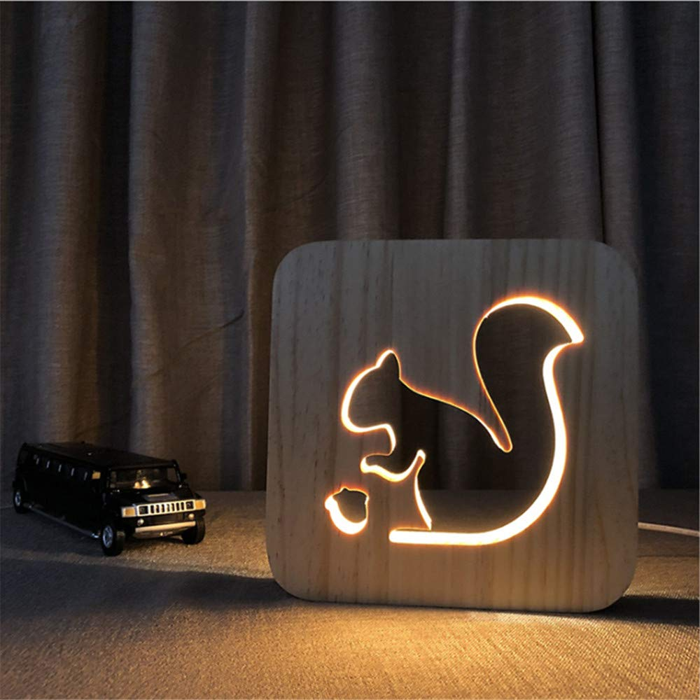 Night Light Kid Led Wooden Button Type 3D Wood Table Lamp USB Warm White, Squirrel by TDRHD