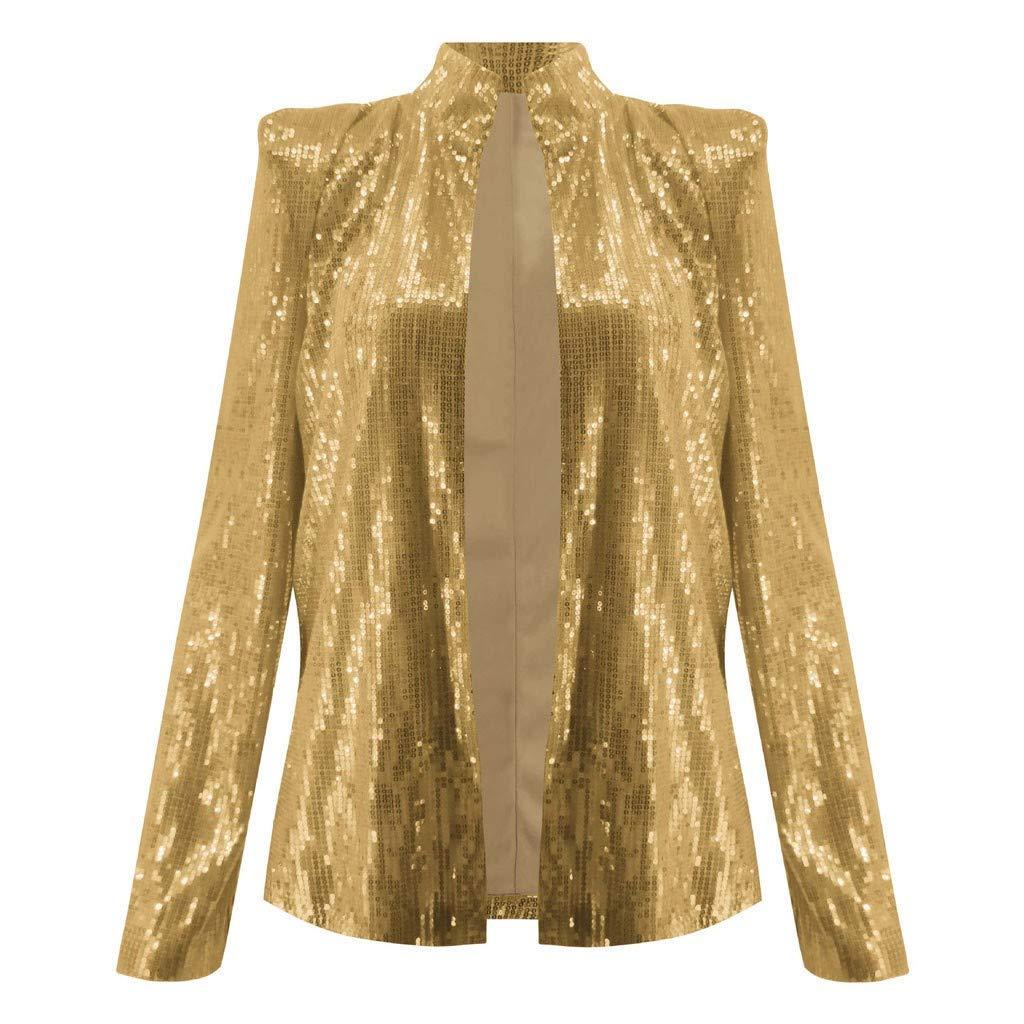 Respctful✿Women Sequins Coat Bomber Jacket Long Sleeve Zipper Streetwear Casual Loose Glitter Outerwear Gold by Respctful Women's Clothing