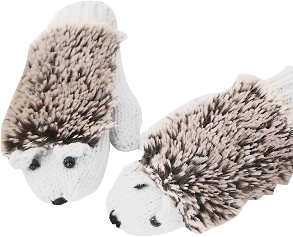 Beige puran Warm Winter Gloves,Women Cartoon Hedgehog AnimalKnitted Gloves Full Finger Mittens for Cycling,Skiing in Cold Weather