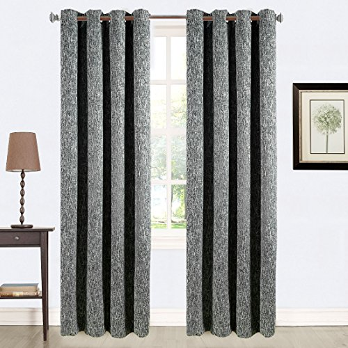Balichun Luxury Double Layers Linen 100% Blackout Curtain Thermal Insulated Darkening Grommets Burlap Drapes Window Treatment for Bedroom/Living Room 52 by 84 inch Charcoal Black 1 Panel