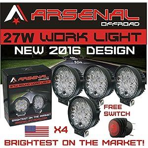 "#1 27w 4x 4"" Round LED Pencil Beam Spot light Arsenal OffroadTM Brightest on the Market! Off Road Trucks Boats 4x4 Jeeps ATV UTV Rhino Razor boats 12volt Combo 2 Pack"
