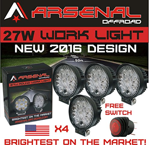 1-27w-4x-4-round-led-pencil-beam-spot-light-arsenal-offroadtm-brightest-on-the-market-off-road-truck