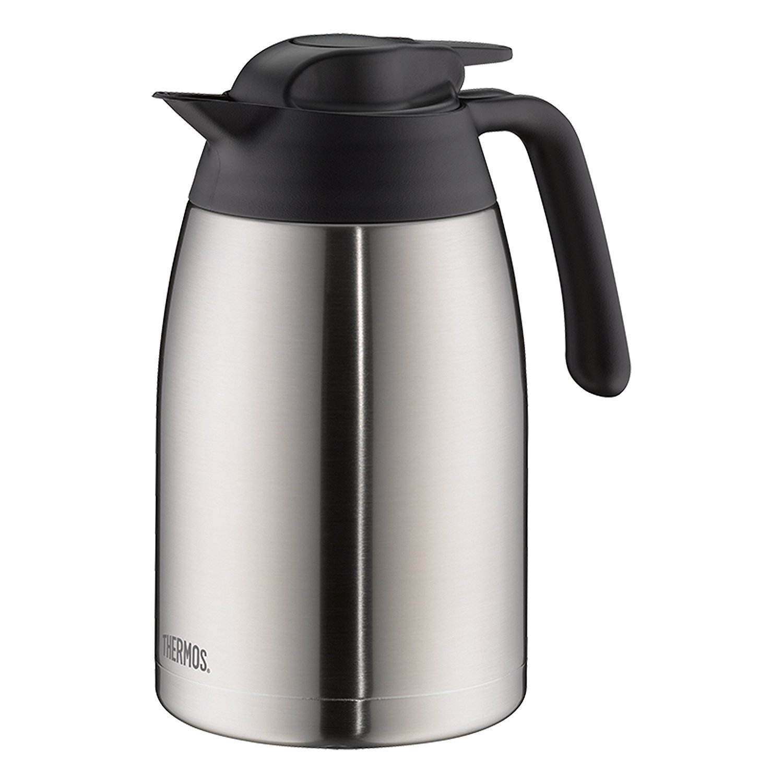 BPA-Frei 12 Stunden hei/ß THERMOS 4026.205.100 Thermoskanne THV Edelstahl mattiert 1,0 l zerlegbarer Verschluss 24 Stunden kalt