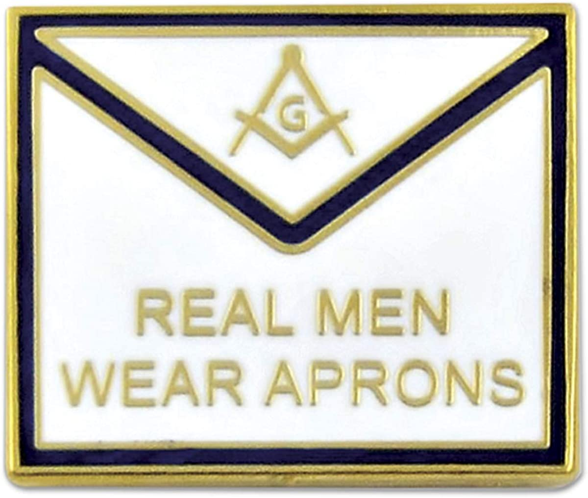 Real Men Wear Aprons Blue /& White Masonic Lapel Pin 3//4 Wide