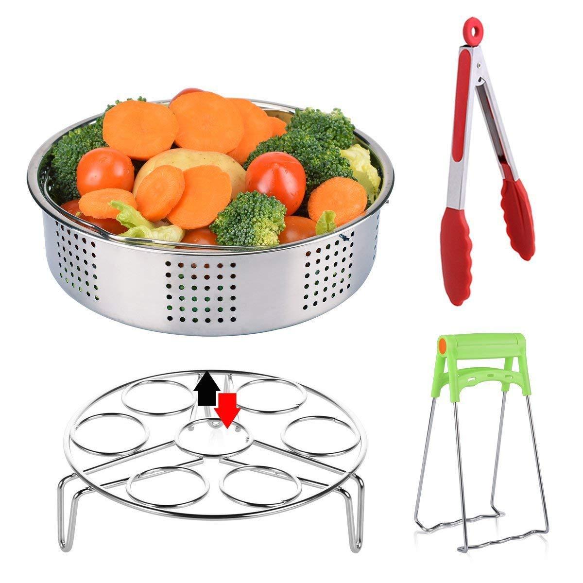 Instant Pot Accessories, Steamer Basket Set with Egg Steamer Rack Stand/Kitchen Tongs/Bowl Clip/Vegetable Steamer Insert for Pressure Cooker Accessories, Fits Instant Pot 5,6,8 qt Pressure Cooker Pack of 4