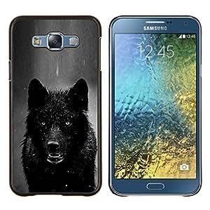 Dragon Case - FOR Samsung Galaxy E7 E7000 - werewolf angry black white winter wolf - Caja protectora de pl??stico duro de la cubierta Dise?¡Ào Slim Fit
