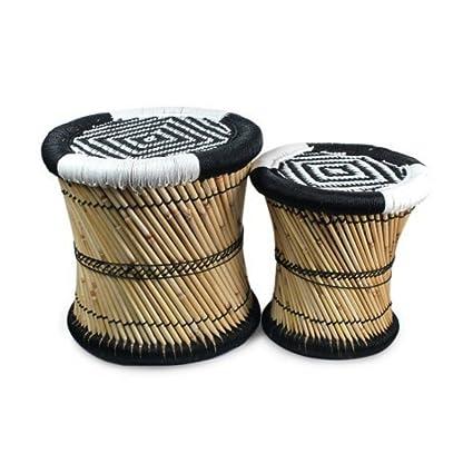 Set de 2 Taburetes Decorativos de Bambú Blanco y Negro ...