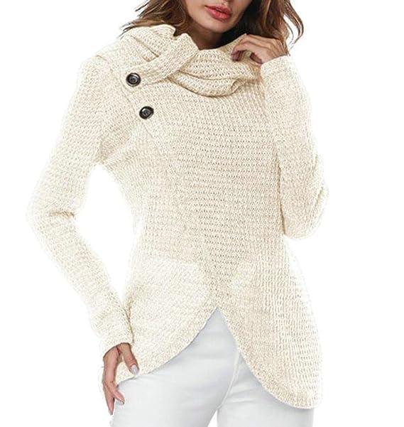 Hajotrawa Women\'s Knitted Cowl Neck Cross Long Sleeve Button ...